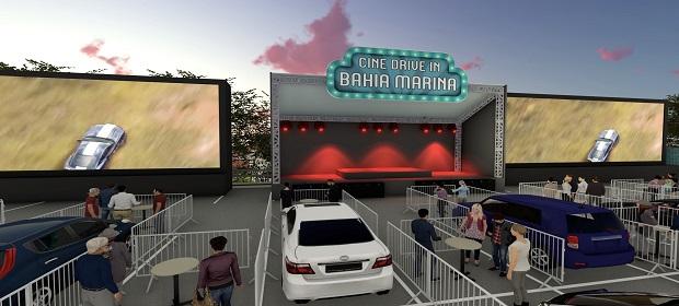Cine Drive-in Bahia Marina apresenta programação semanal.