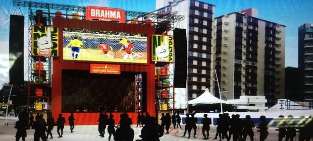 Arena Brahma Nº1 vai unir torcedores no Farol da Barra durante jogos.
