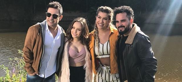 Lore Improta grava clipe do novo single de Zezé Di Camargo e Luciano.