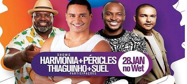 Péricles, Thiaguinho e Suel participam do ensaio do Harmonia do Samba.