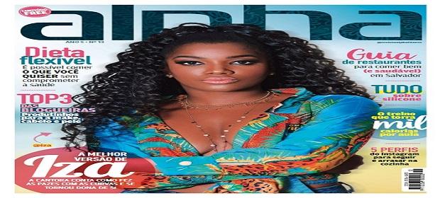 Cantora Iza estampa capa da nova Revista Alpha Fitness.